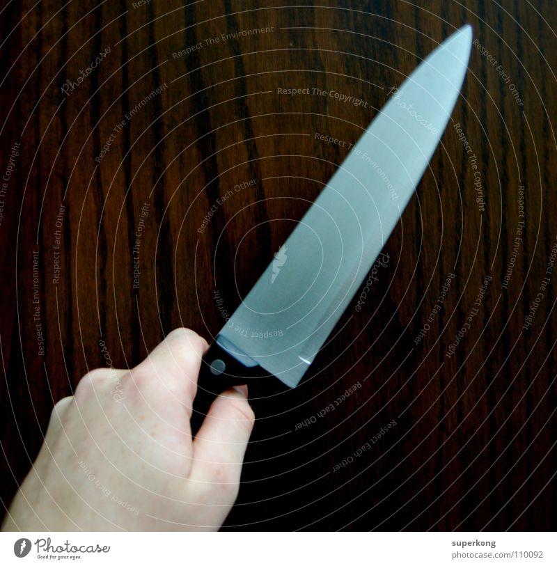Messer Holz Stil Hand kochen & garen geschnitten Finger Wut Aggression Quadrat Strukturen & Formen Qualität Gastronomie Mord Masserung Kontrast Future Hass