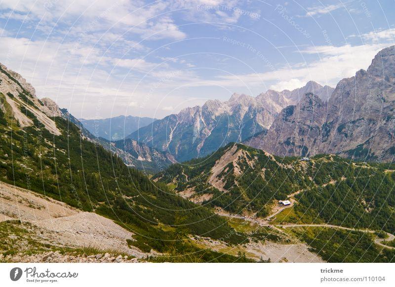 Berg und Tal Natur schön Himmel Baum grün blau Ferien & Urlaub & Reisen Wolken Wald Schnee Berge u. Gebirge Stein Wege & Pfade Park Wärme Landschaft