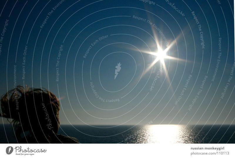 KaKosen Meer Reflexion & Spiegelung Sonnenstrahlen Fähre Wasserfahrzeug Atlantik Pazifik Griechenland Italien Verlauf Wange Rückseite Horizont horizontal weiß