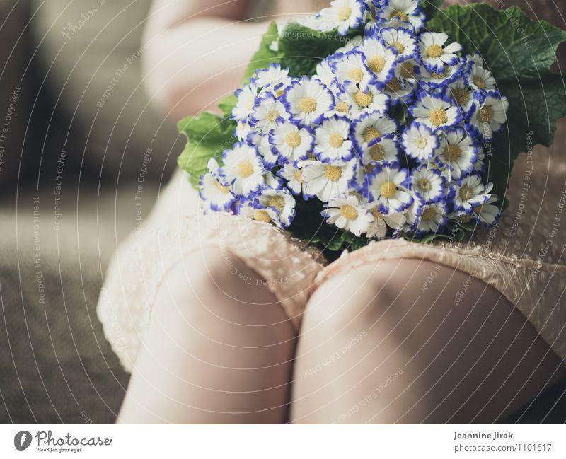 waiting for Mensch Frau Pflanze Blume ruhig Erwachsene Liebe Frühling feminin Beine Zufriedenheit Haut Hochzeit Kleid Blumenstrauß harmonisch