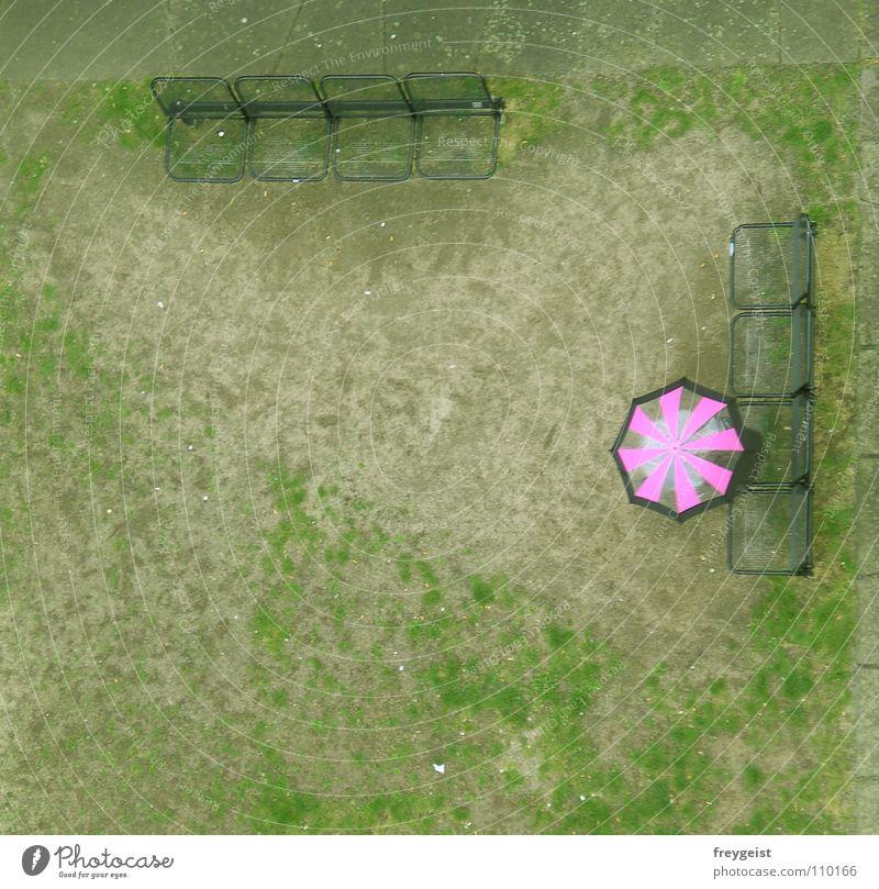 Pink grün Wiese rosa Bank Aussicht Turm Regenschirm gießen