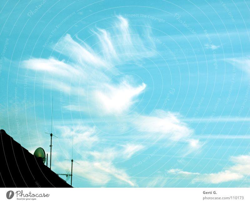 verkorkst, nä? Kondensstreifen Tiefflieger Formation Wolkenformation Elektrizität durcheinander himmelblau Altokumulus floccus Dach Antenne Dachziegel diagonal