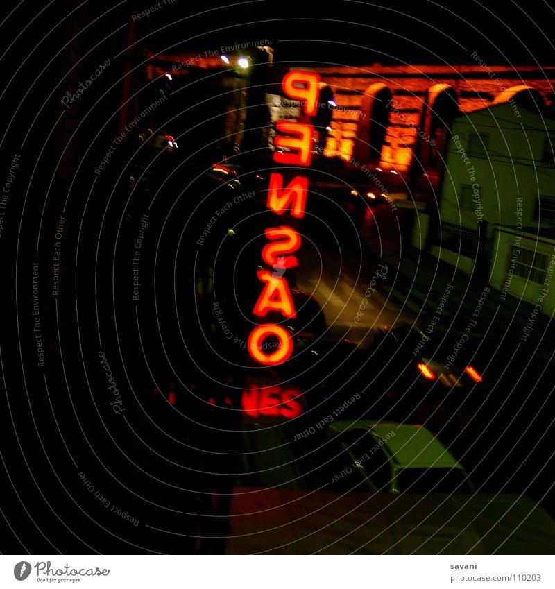 Pensao Ferien & Urlaub & Reisen Nachtleben Stadt Brücke Gebäude Fassade Verkehrswege Straße PKW Schriftzeichen Schilder & Markierungen Bewegung schlafen orange