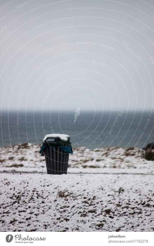 Menschenleer | Textfreiraum oben Himmel Ferien & Urlaub & Reisen Meer Landschaft Winter Strand Umwelt Schnee Küste Eis Nebel Tourismus Urelemente Frost Ostsee