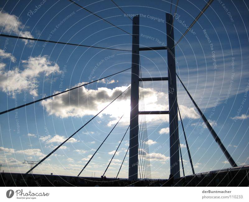 Rügenbrücke001 Drahtseil Tentakel Gegenlicht Wolken Himmel Bauwerk Brücke Stralsund Sonne Straße Sky Verbindung Pylon