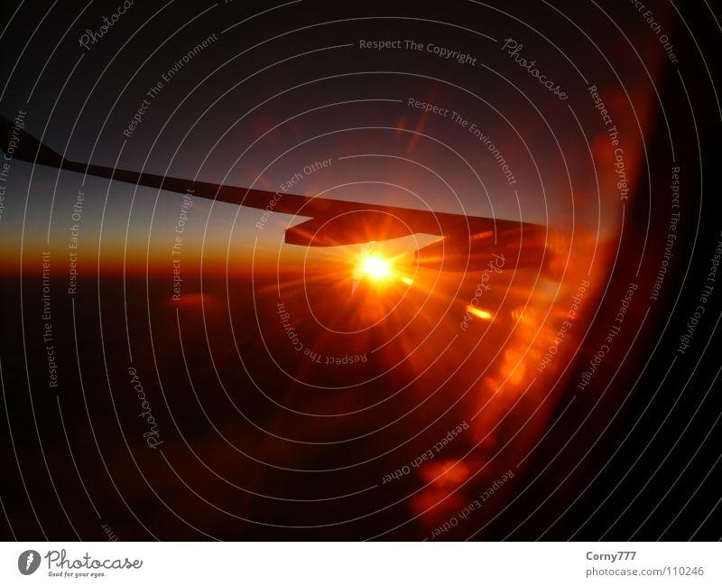 Sonnenenergie Wolken Flugzeug Unendlichkeit Horizont Morgen Sonnenaufgang Neuanfang Himmel Luftverkehr Flügel Erde Transatlantik Morgendämmerung