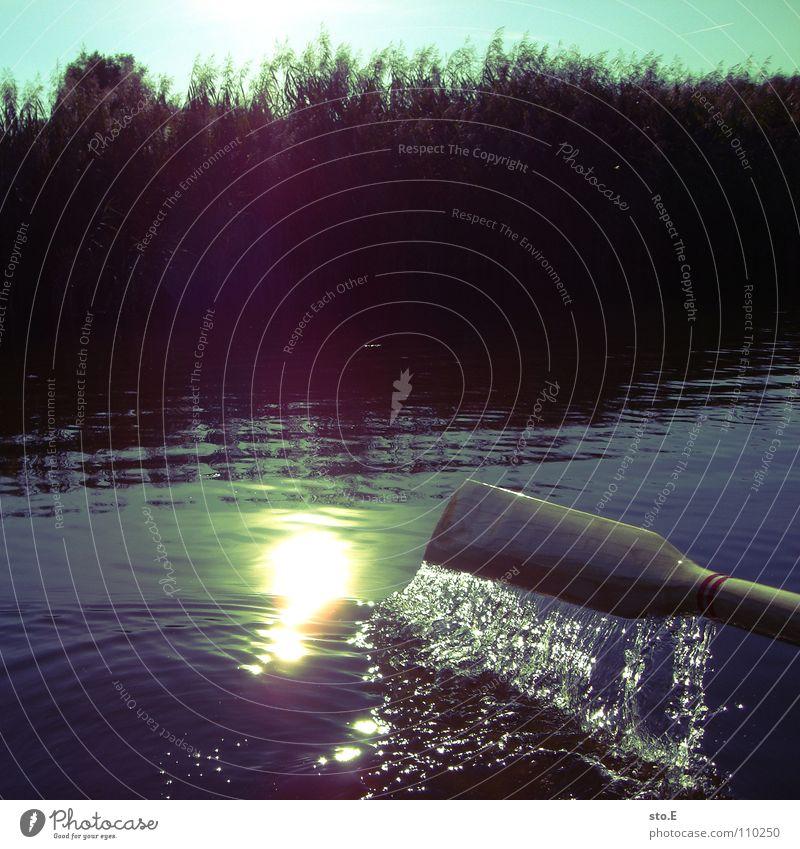 angeln pt.5 Angelrute Angeln Angler See Waldrand Licht Lichtfleck ruhig Osten Nachmittag Wasserfahrzeug Ruderboot Freizeit & Hobby Küste Sonne bledung