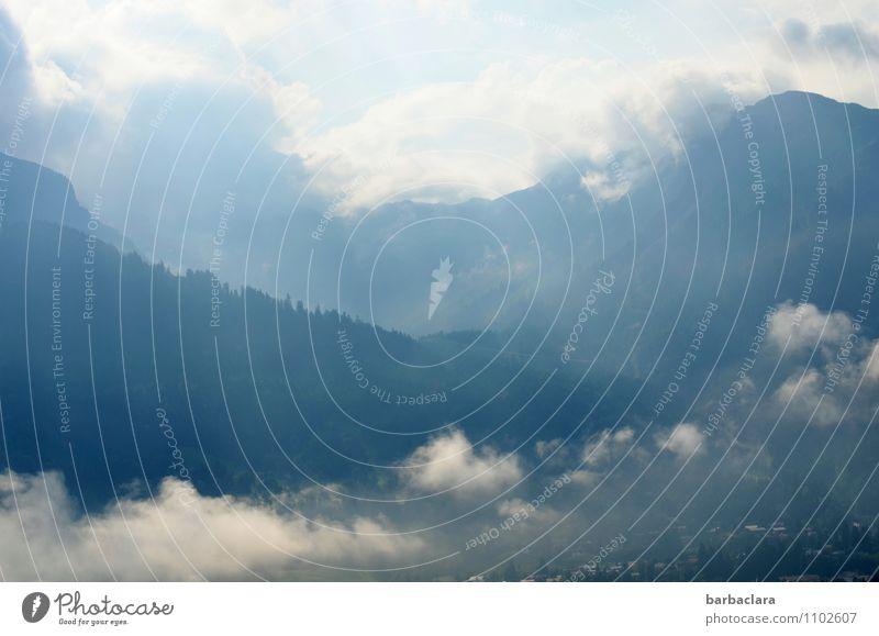 Guten Morgen! Himmel Natur blau weiß Landschaft ruhig Wolken Ferne Berge u. Gebirge Freiheit Stimmung hell Horizont Wetter Luft hoch