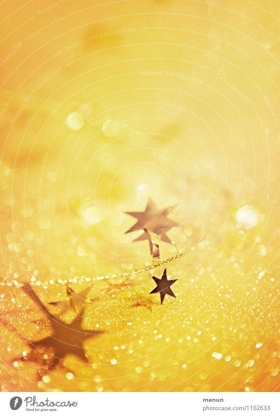 Sternchen Feste & Feiern Weihnachten & Advent Weihnachtsdekoration Weihnachtsstern Dekoration & Verzierung Zeichen Stern (Symbol) glänzend positiv gelb gold