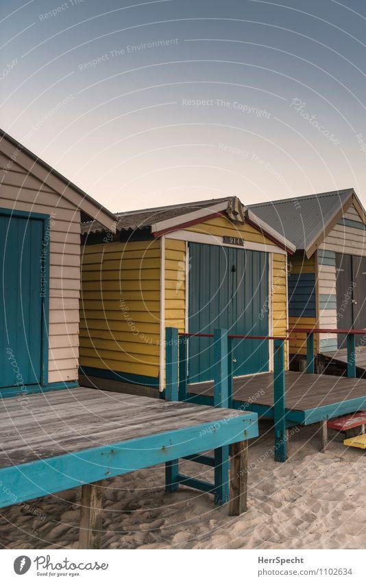 Beach Boxes Himmel Ferien & Urlaub & Reisen alt schön Farbe Sommer Haus Strand Gebäude Holz klein Sand Fassade Treppe authentisch Ausflug