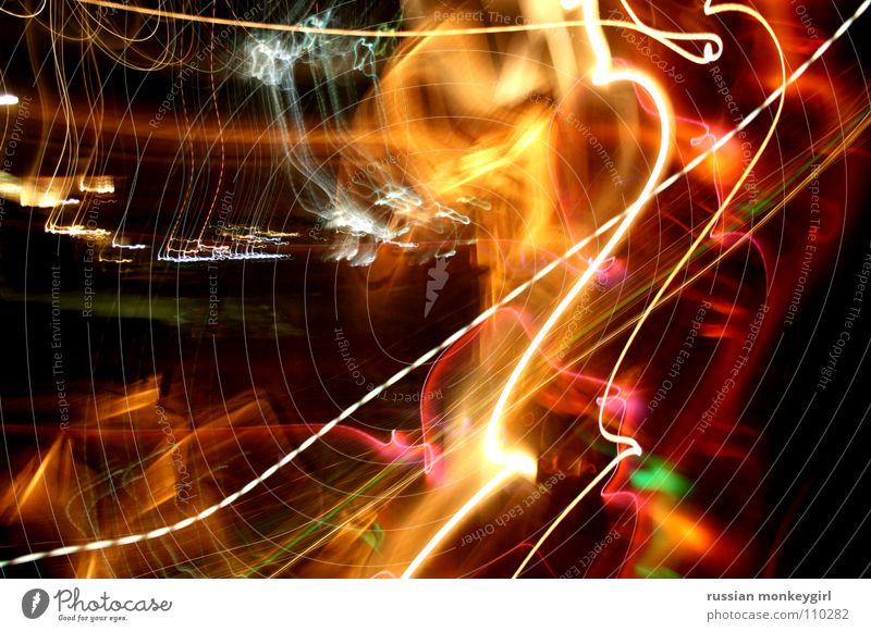 verliebtes lichterspiel Licht Spielen gelb weiß rot dunkel schütteln Bewegung Griechenland Farbe Freude hell verwackeln rütteln stoßen russian monkeygirl