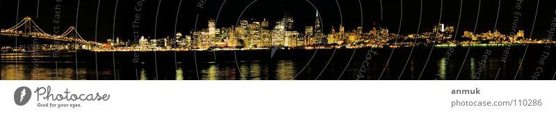 Skyline SanFrancisco 2003 Nachtaufnahme Panorama (Aussicht) San Franzisco USA America BigCity Panorama (Bildformat)