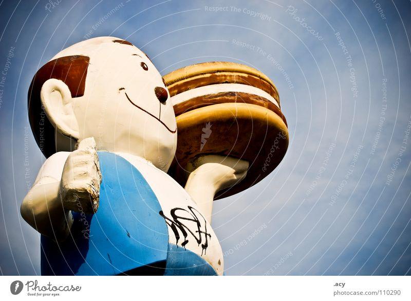 hungry? Mann Fleisch Kellner Fastfood Cheeseburger Ernährung Appetit & Hunger blau groß Freisteller Vor hellem Hintergrund Figur Eyecatcher Hamburger