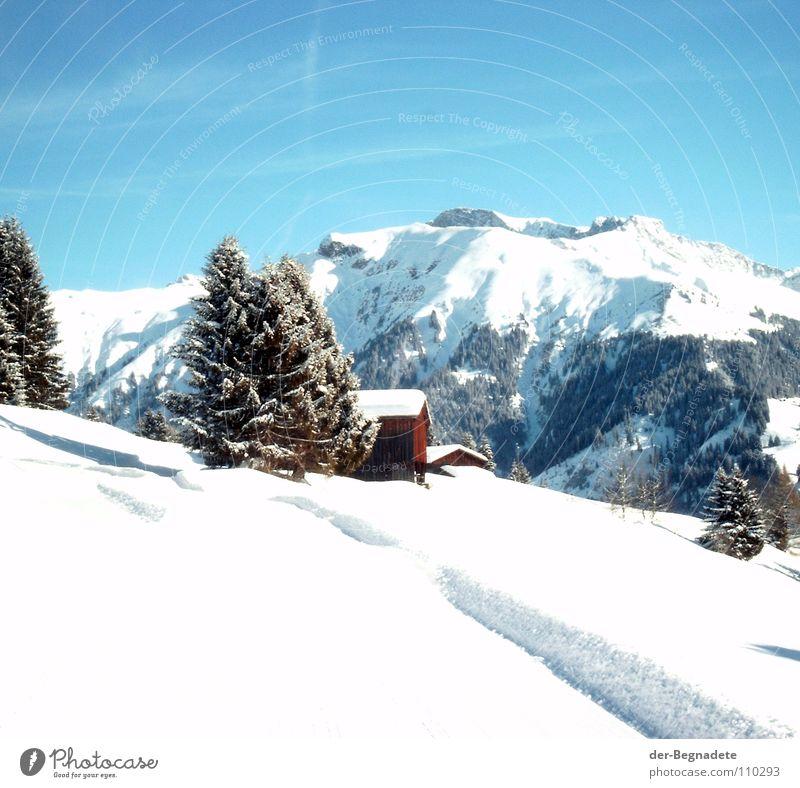 Schneeberge Winter Februar kalt Neuschnee Winterurlaub Schneewandern Kanton Graubünden Schweiz weiß Schneewehe Holzhütte Berghütte Dach braun Schönes Wetter