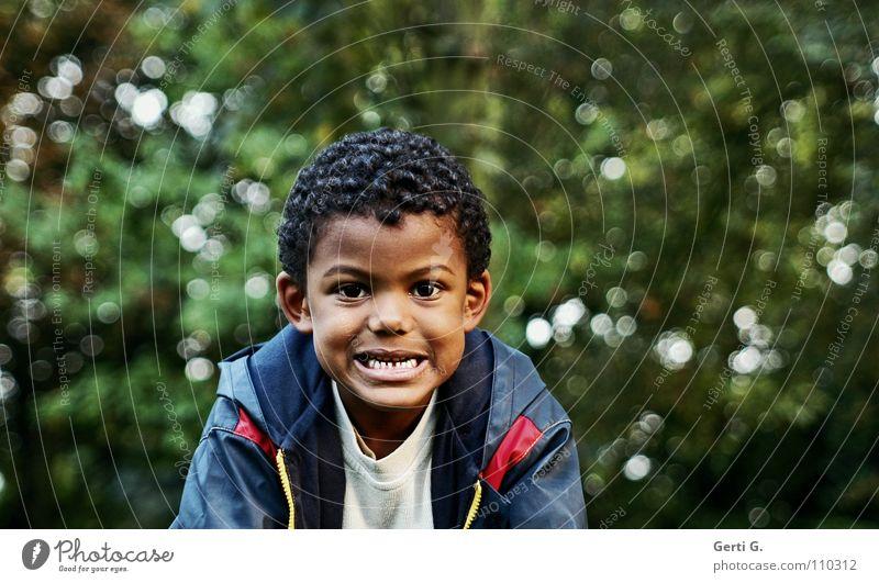Zähne zeigen Porträt schön Hautfarbe Sträucher Baum grün dunkelgrün Regenjacke Gesichtsausdruck Kindergartenkind bissig durchbeißen einrichten Afrika Gambia