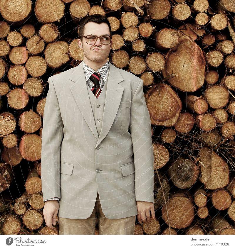 holz? Mann Kerl Anzug Jacke Weste grau braun Hose Krawatte gestreift Hand hell Diebstahl entwenden geizig fantastisch Brille Holzstapel Brennholz heizen Winter