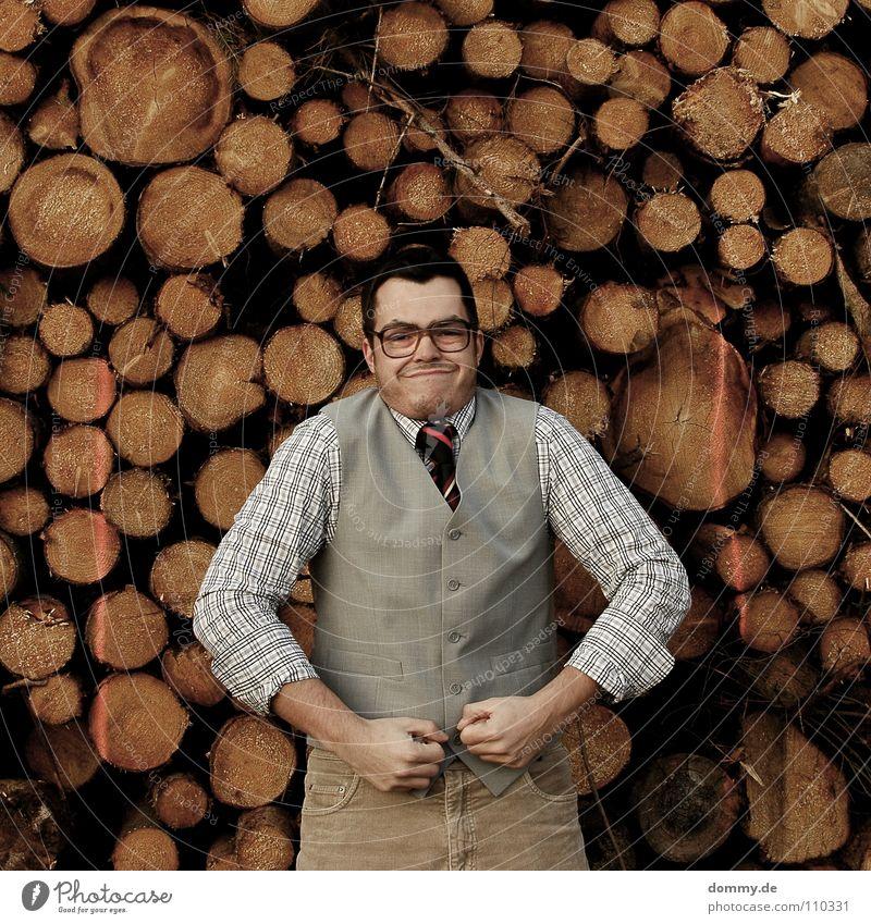 jetzt aber Mann Kerl Anzug Jacke Weste grau braun Hose Krawatte gestreift Hand hell Diebstahl entwenden geizig fantastisch Brille Holzstapel Brennholz heizen