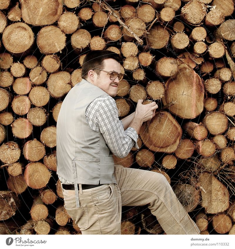 raus mit dir Mann Kerl Anzug Jacke Weste grau braun Hose Krawatte gestreift Hand hell Diebstahl entwenden geizig fantastisch Brille Holzstapel Brennholz heizen