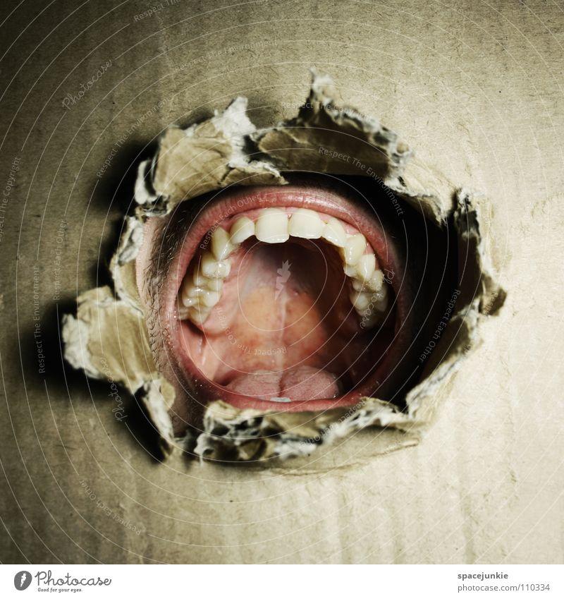 Ausbruch Karton brechen Zerreißen aufreißen Durchbruch eng gefangen gerissen schreien Mann Wut Aggression Angst Panik Loch stoßen durchstoßen Flucht Mundhöhle