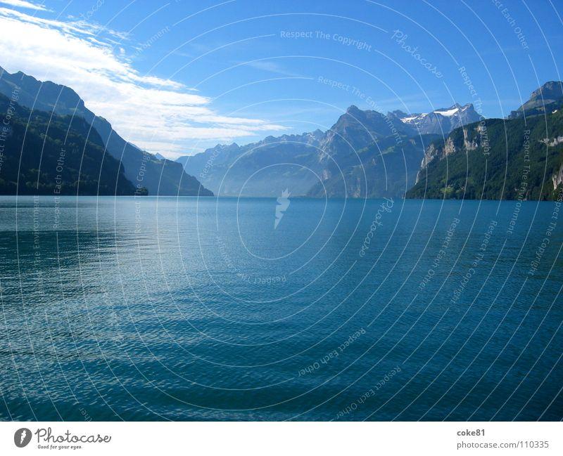 see_blau Wasser blau Sommer Berge u. Gebirge See Wasserfahrzeug Horizont Schweiz