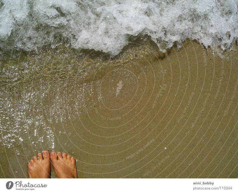 Fühl das Meer Wasser weiß Sommer Strand Ferien & Urlaub & Reisen Gefühle Fuß Sand braun Wellen Küste nass spritzen Zehen Schaum