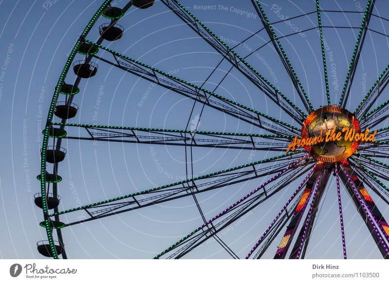 Around The World blau Erholung Freude schwarz Bewegung Stimmung oben orange Freizeit & Hobby Tourismus groß Aussicht Höhenangst Vertrauen entdecken Jahrmarkt
