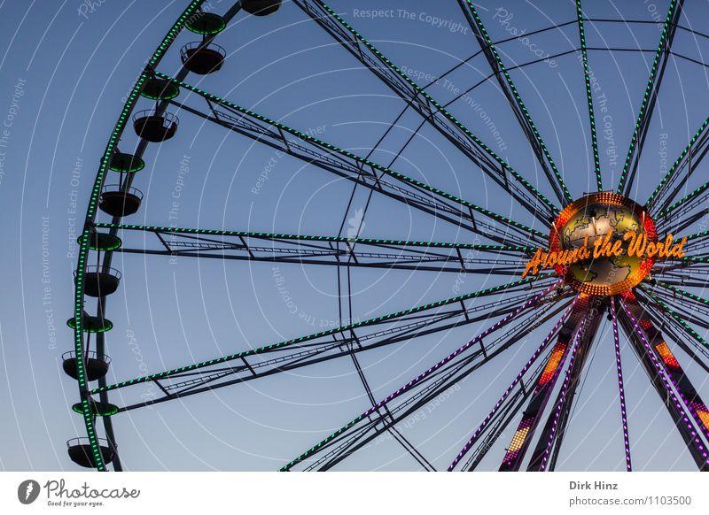 Around The World Menschenleer Bewegung entdecken Erholung hängen oben blau orange schwarz Stimmung Vertrauen erleben Freude Tourismus Riesenrad Jahrmarkt
