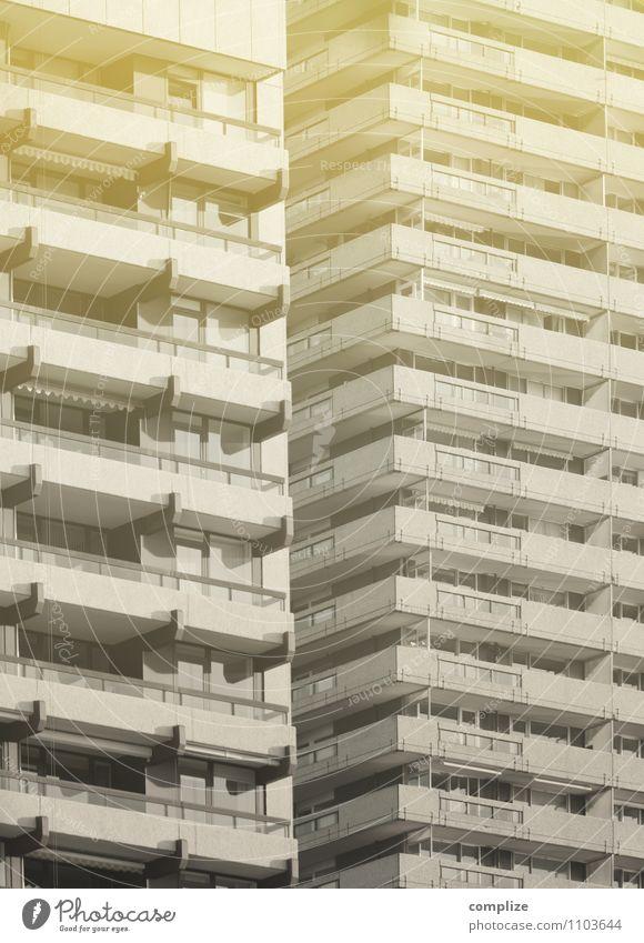 Traumhaus Stadt Haus Wand Mauer Fassade Wohnung Häusliches Leben Hochhaus Baustelle Umzug (Wohnungswechsel) Balkon Stadtzentrum Stadtrand bevölkert