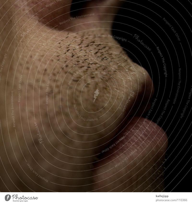 stumm Mensch Mann Gesicht Haut Mund Ernährung Lippen Bart Falte atmen Rasieren Bartstoppel Stoppel Rasierer Oberlippe Unterlippe