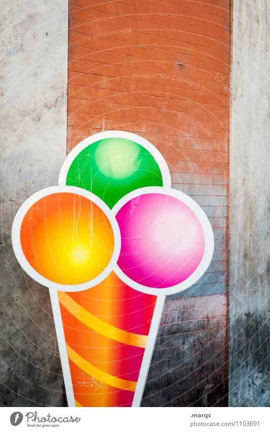 Eiszeit Sommer Mauer Wand Werbung Speiseeis Eisdiele Schilder & Markierungen lecker mehrfarbig Glück Lebensfreude Freizeit & Hobby genießen Eiswaffel