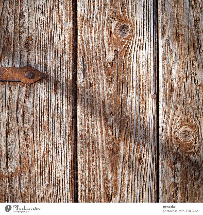 brettgeschichten Tür Zeichen ästhetisch authentisch nah trocken Holzwand verfallen Maserung Rost Türzarge Eisen braun verwaschen Farbfoto Gedeckte Farben