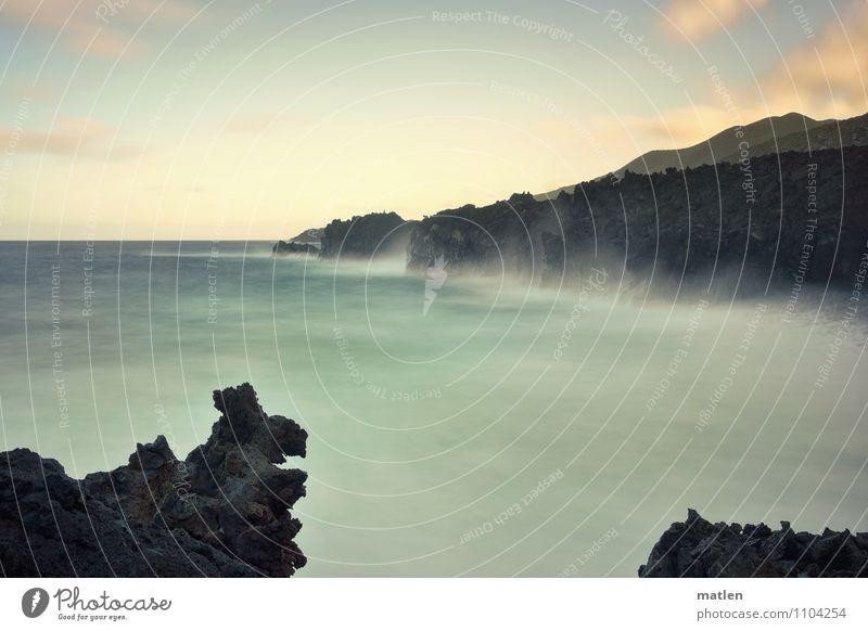Wasserzeichen I stormy Umwelt Natur Landschaft Himmel Wolken Horizont Sonnenaufgang Sonnenuntergang Wetter Schönes Wetter Sturm Felsen Berge u. Gebirge Wellen