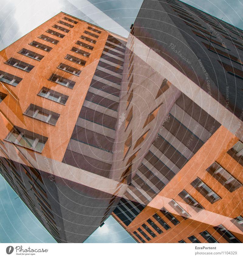 Hommage Himmel Wolken Stadt Haus Hochhaus Bauwerk Gebäude Architektur Mauer Wand Fassade Balkon Beton Linie Streifen außergewöhnlich blau grau orange Design