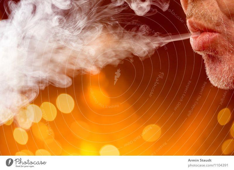 Zephyr Lifestyle Stil Design Rauchen Rauschmittel Wohlgefühl Erholung Duft Freizeit & Hobby Nachtleben Mensch maskulin Mann Erwachsene Mund 1 Dreitagebart atmen