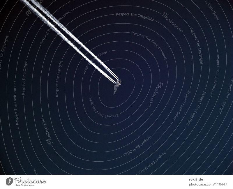 Überflieger Himmel blau Ferien & Urlaub & Reisen Wolken Stimmung Flugzeug Luftverkehr Klarheit Flughafen Strahlung Wasserdampf Düsenflugzeug Überschallflugzeug