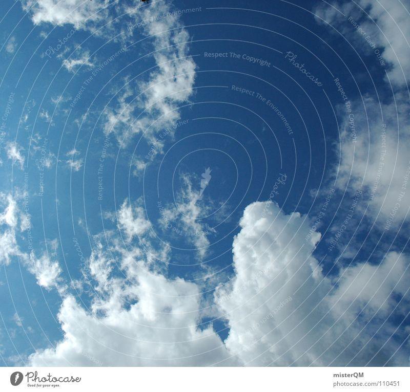 on cloud nine Himmel Ferien & Urlaub & Reisen blau schön Sommer weiß Erholung Meer Einsamkeit Wolken Ferne Fenster kalt Wärme Hintergrundbild klein