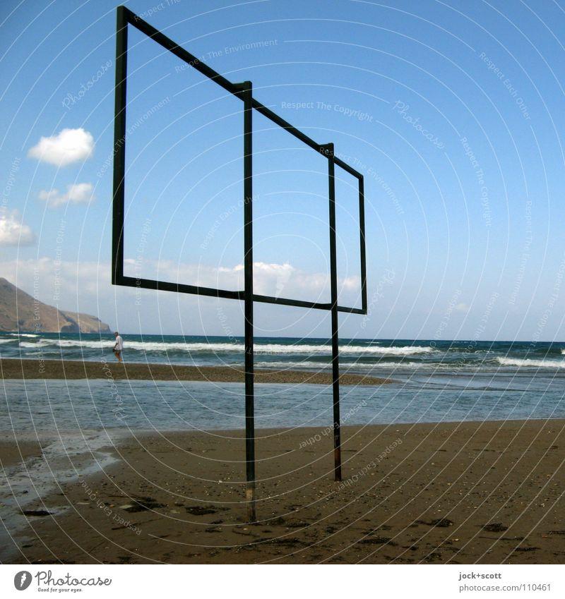 Ohne Worte Mensch Wasser Meer ruhig Wolken Strand Wärme Küste Zeit Linie Metall Horizont Idylle Schilder & Markierungen authentisch frei