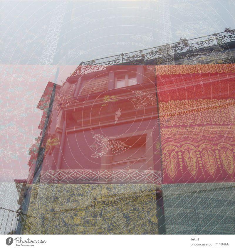 TRAUMWELT II alt Himmel Blume Stadt rot Haus gelb Straße oben träumen braun Zusammensein orange Kunst hoch Netzwerk