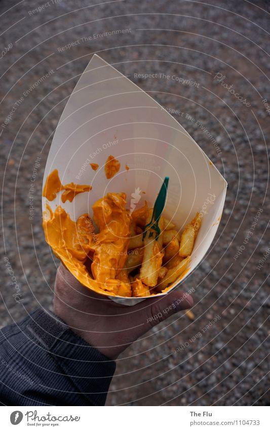 Fast leer weiß Hand Essen Gesundheit Lebensmittel orange Ernährung Finger Übergewicht Fressen Diät Fett Gabel Kartoffeln Fastfood Kalorie