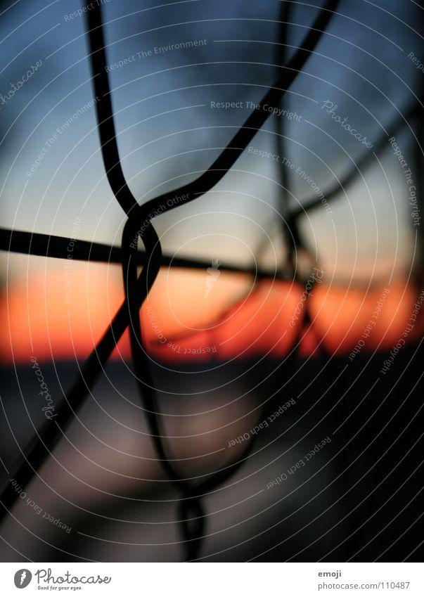 Lerato blau rot schwarz Farbe dunkel Kunst nah Kitsch außergewöhnlich obskur Zaun Draht seltsam Rätsel unklar