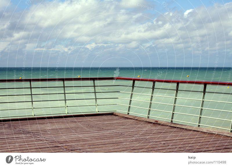 Meergeländer Wasser Himmel grün blau Ferne See Linie Horizont Sehnsucht Frankreich Verkehrswege Flur Geländer Fernweh