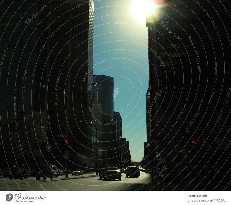 schlucht Montreal Kanada Asphalt Beton Haus Hochhaus Meile Spaziergang Schönes Wetter fahren Verkehrswege Straße street PKW Mensch Himmel Sonne blau