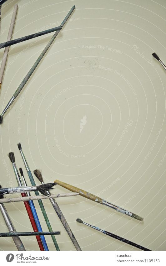 pinsel Pinsel durcheinander freie Fläche malen Kunst Künstler