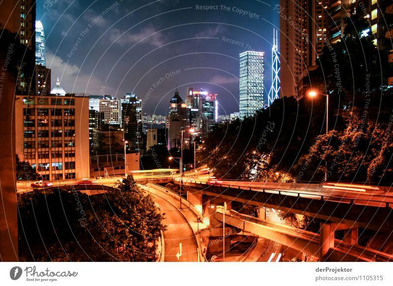 Nachts in Hongkong Ferien & Urlaub & Reisen Stadt Sommer Haus Straße Gefühle Beleuchtung Stadtleben orange Tourismus Verkehr Hochhaus Ausflug Brücke erleuchten