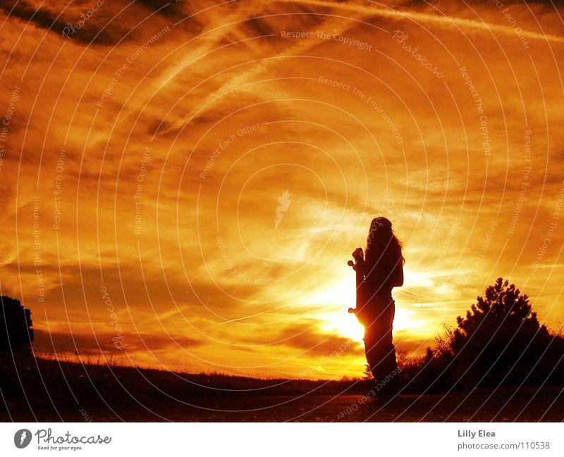sunset Sonnenuntergang schwarz rot gelb Farbe Herbst Feuer Brand Skateboarding orange black Himmel Schatten Silhouette