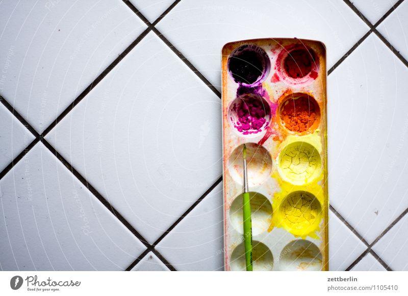 Farben, grade Farbstoff Kunst malen trocken streichen Gemälde Fliesen u. Kacheln zeichnen Künstler Anstreicher Pinsel Maler Vielfältig eingetrocknet Farbmittel