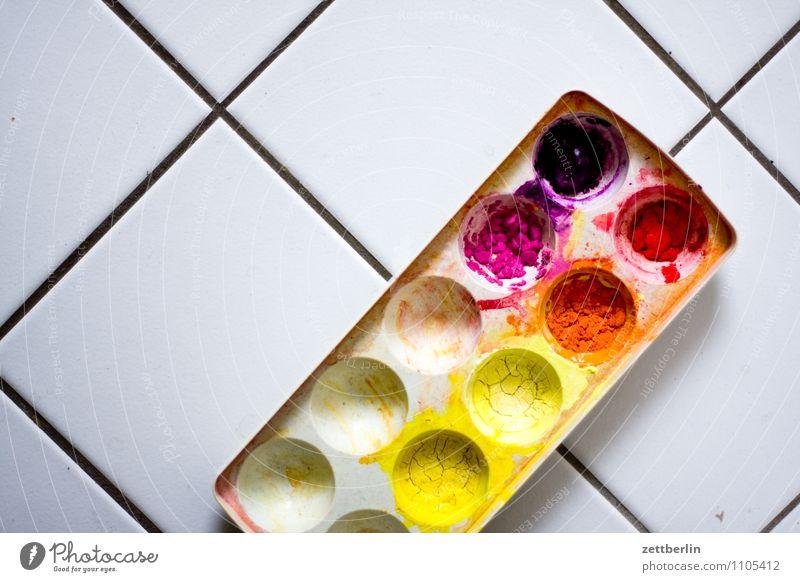 Farben, schräg Farbstoff Farbkasten tuschkasten Tusche gouache mehrfarbig Vielfältig streichen zeichnen malen Gemälde Kunst Pinsel Fliesen u. Kacheln Farbmittel