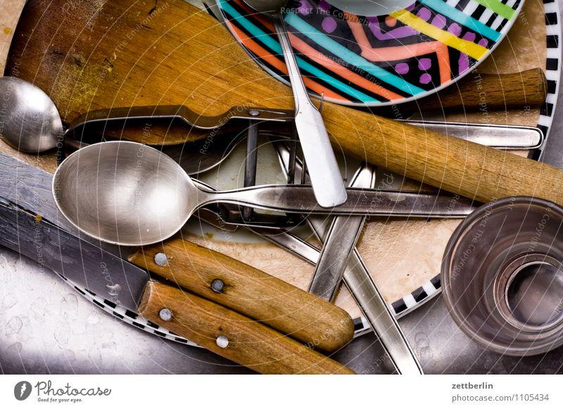 Abwasch Haus Metall Wohnung Häusliches Leben Glas Sauberkeit Reinigen Küche Geschirr Dienstleistungsgewerbe Teller Messer Haushalt Besteck Löffel Tafelmesser