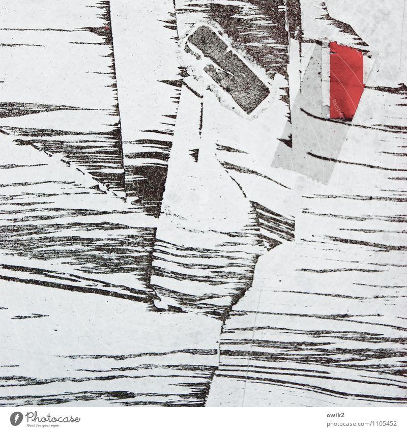 Fraktur Kunstwerk rot schwarz weiß Rätsel Farbfleck Rest Klebeband Spuren Farbfoto Gedeckte Farben Außenaufnahme Nahaufnahme Detailaufnahme abstrakt Muster