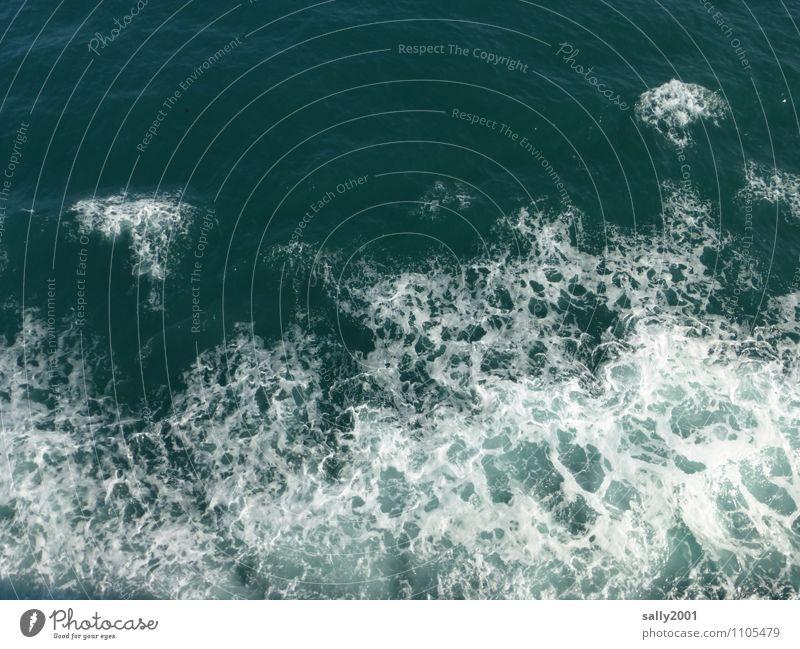 Wasserzeichen | ... Wellen Meer bedrohlich maritim Gischt sprudelnd wühlen Kielwasser wasserzeichen Zeichen Wolken Farbfoto Außenaufnahme Menschenleer Tag